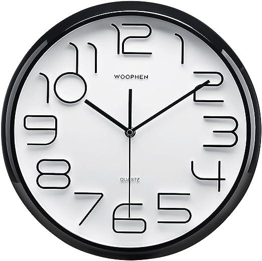"Plumeet Large Number Wall Clock 13/"" Silent Non-ticking Quartz Decorative Wall"