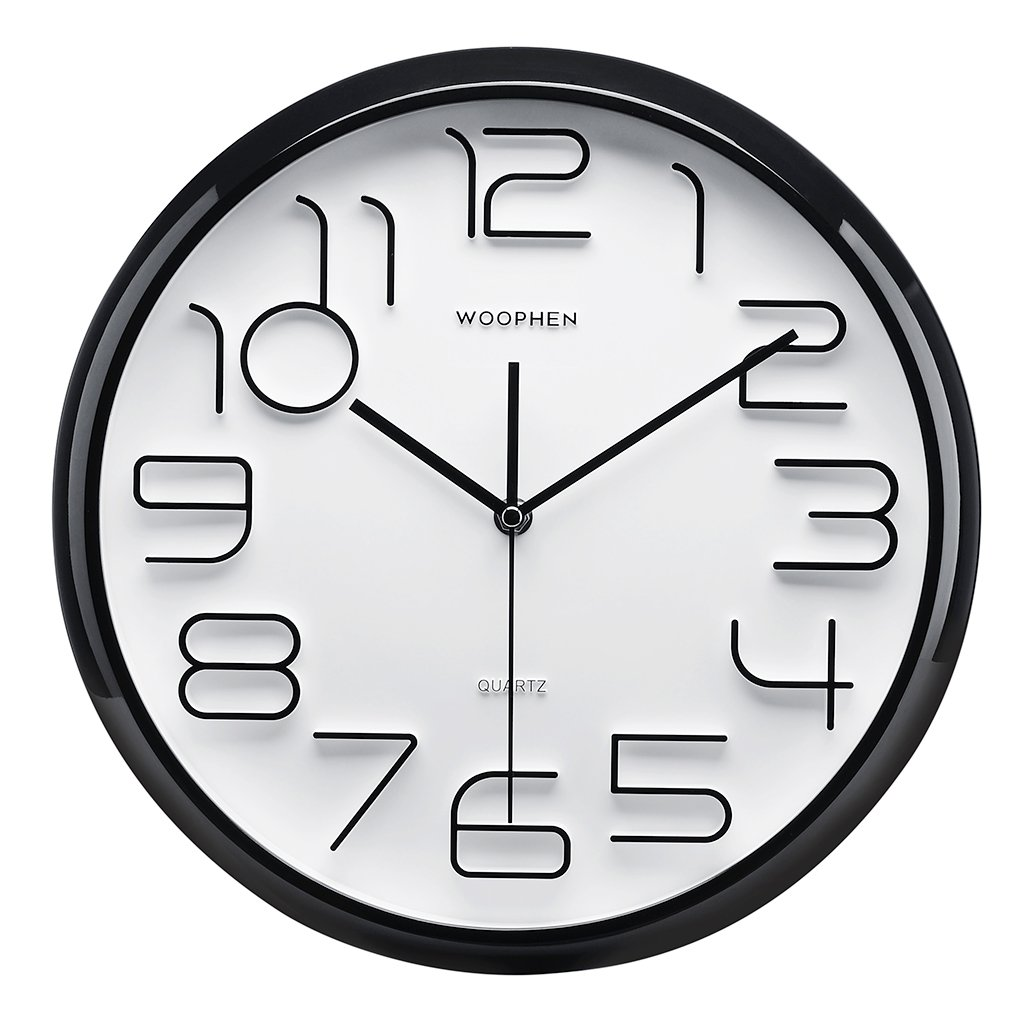 WOOPHEN 13 Inch Large Wall Clock, Non-Ticking Silent Quartz Decorative Clocks, Battery Operated, Big 3D Number Display. Good Home/Office/School Clock (Black)
