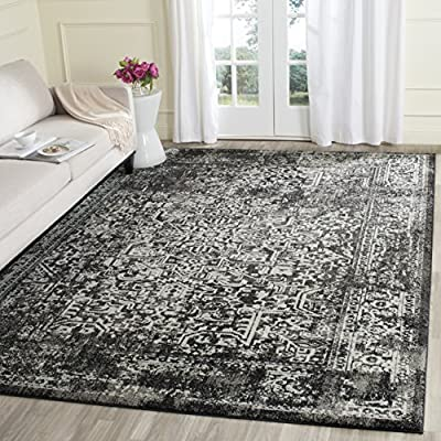 Safavieh Evoke Collection EVK256R Vintage Oriental Black Grey Area Rug - Construction Power Loomed; Country Of Orgin Turkey Fiber/Finish 66% Polypropylene,27% Jute,5% Polyester,2% Cotton Backing Power Loomed Rugs Do Not Use Backing Material On The Underside Of The Rug. A Thin Coat Of Latex Is Applied To The Underside Of The Rug To Secure The Yarns Firmly In Place. This Latex Coat Is Virtually Invisible And Is Not Considered Backing Material. - living-room-soft-furnishings, living-room, area-rugs - 61DSm fD7tL. SS400  -