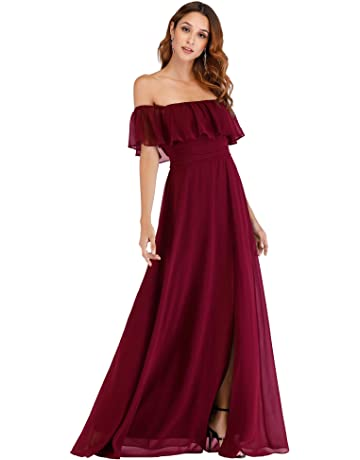 83d6a6744be Ever-Pretty Womens Off The Shoulder Ruffle Party Dresses Side Split Beach Maxi  Dress 07679