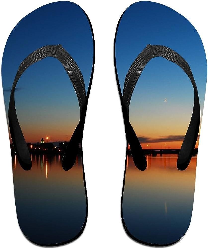 Unisex V Flip Flops Night Panorama Sky Line Personalized Summer Slipper