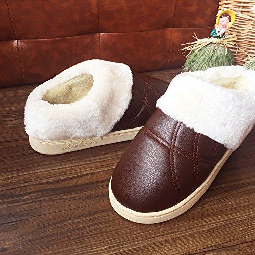 LaxBa Glisser sur lhiver au chaud en Fausse Fourrure Chaussons Chaussures pour hommes neige bordée 42/43 Café