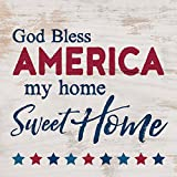 God Bless America Home Sweet Home Whitewash 5.5 x 5.5 Solid Wood Plank Wall Plaque Sign