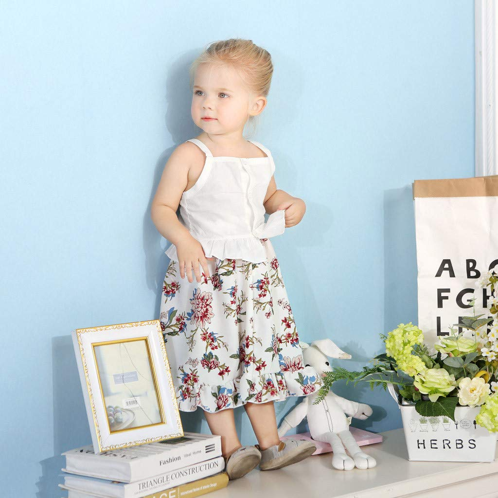 2pcs Baby Girl Dress Set, Toddler Kids Sleeveless Ruffles Vest Tops + Floral Print Skirt Clothes Outfits (18-24 Months, White) by Hopwin Baby girls Suits (Image #5)