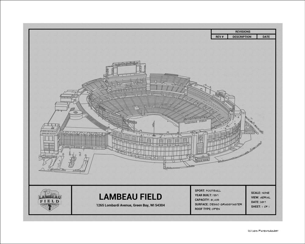 3d02fbea Amazon.com: Green Bay Packers Lambeau Field Blueprint Art Gift: Home ...