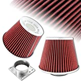 """3"""" Taper Chrome Round Red Mesh Gauze Air Intake Filter + Adapter"""