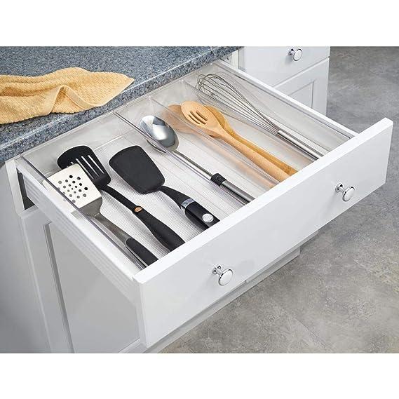 mDesign Cubertero para cajón extensible - Organizador de cubiertos para cajones - Separador de cajones para diversos utensilios de cocina - Color: ...