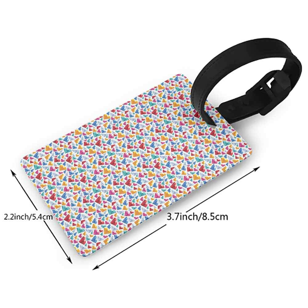 Boarding Tags Luggage Tag,Diamonds,Dotted Rhombus Patterned Backdrop with Traditionally Cut Stones Composition,Multicolor One Size Straps Suitcase Blue Grey Ruby