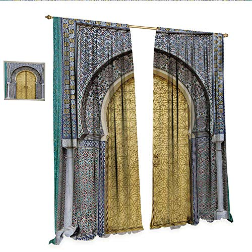 (WinfreyDecor Moroccan Customized Curtains Antique Doors Morocco Gold Doorknob Ornamental Carved Intricate Artistic Thermal Insulating Blackout Curtain W72 x L84 Yellow Teal Blue.jpg)