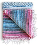 Mexican Blanket – Authentic Falsa Thick Soft Woven Acrylic Yoga Serape or as Beach Throw, Picnic, Camping, Travel, Hiking, Adventure, Pillow, Blankets in Pink, Mint, Sand, Gray, Sky Blue