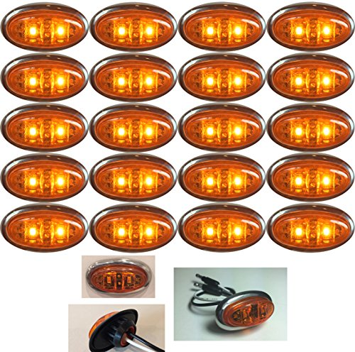 20 LONG HAUL AMBER AMBER MINI OVAL 2 LED DIODES 2