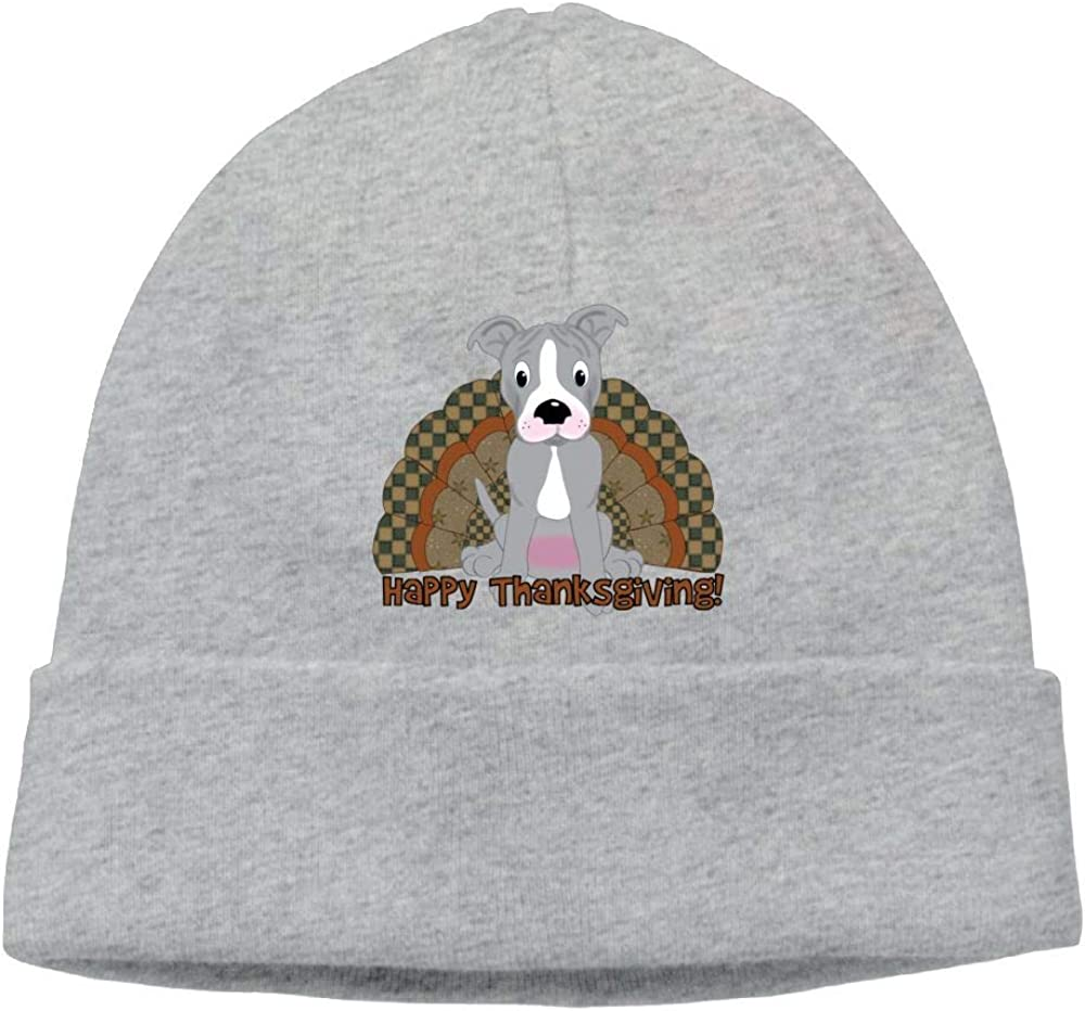 Poii Qon Pitbull Thanksgiving Beanie Hat Skull Cap Woman Man