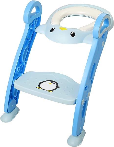 Amzdeal Asiento WC Escalera para Niño Aseo Asiento para Bebes con Escalera Plegable Asiento Escalera Adaptador de wc Orinal Formación Bebé: Amazon.es: Bebé