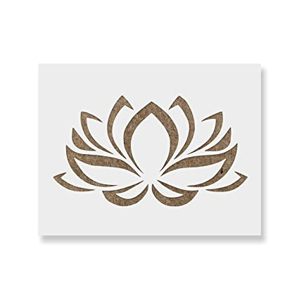 b77292f85f Amazon.com: Lotus Flower Stencil Template - Reusable Stencil with Multiple  Sizes Available