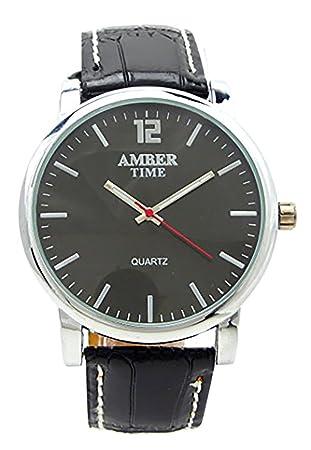 Evil Wear pulsera de relojes de hombre elegante reloj con correa de piel negra Reloj Designer Watch Amber Black: Amazon.es: Deportes y aire libre
