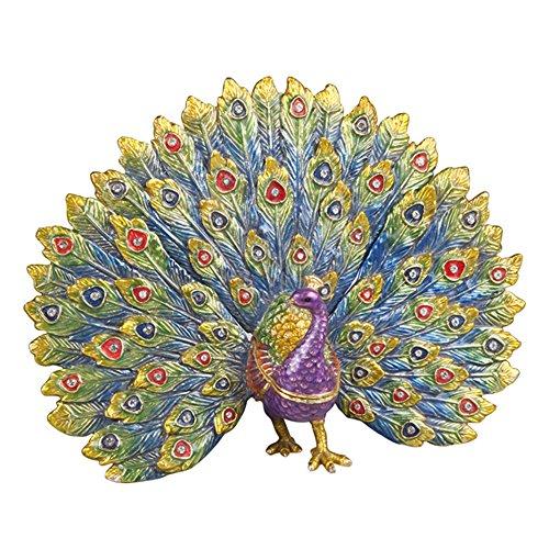 Big Peacock Trinket Box Metal Enameled Brid Figurine Collectable Wedding Christmas Gift