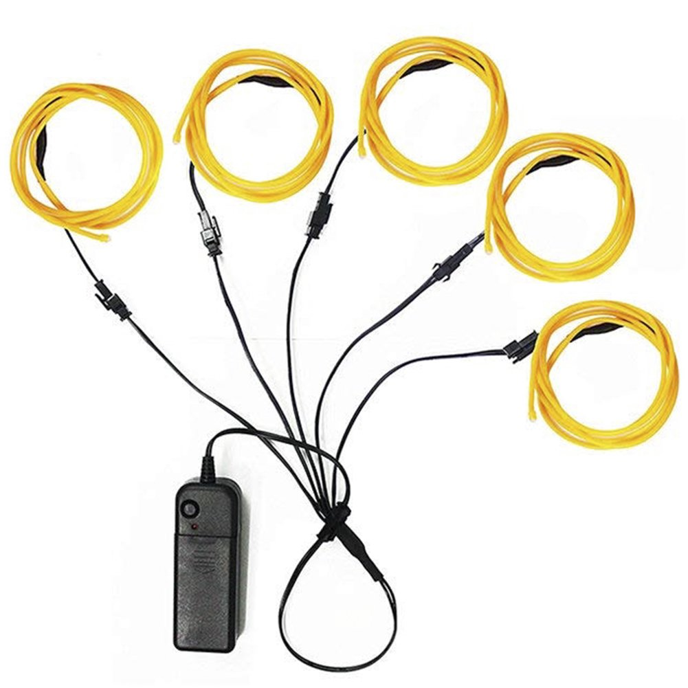 Amazon.com: Glow Wire Lights El Wire Yellow Battery Pack Neon ...