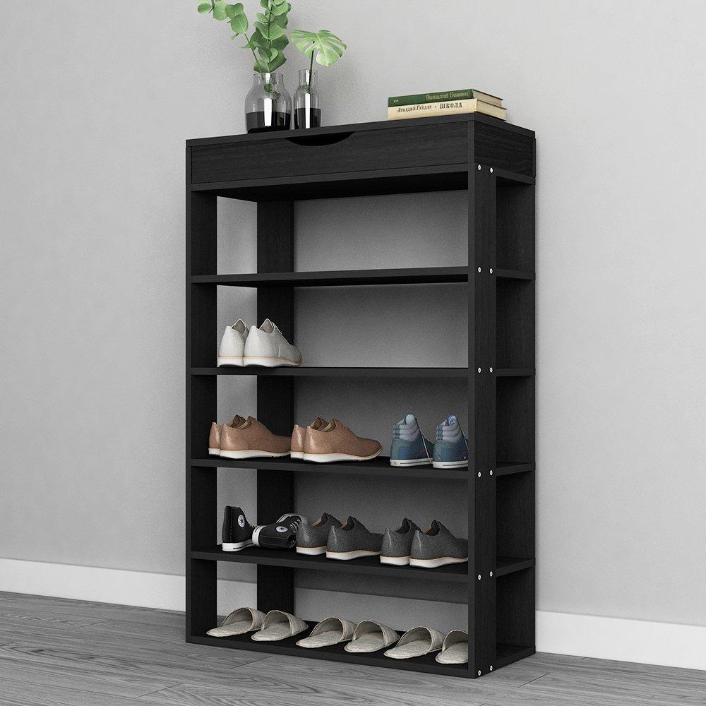 soges 29.5'' Shoe Rack 5 Tier Free Standing Wooden Shoe Storage Shelf Shoe Organizer, Black L24-H by soges (Image #8)