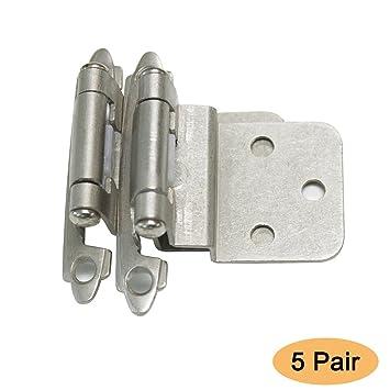Gobrico Satin Nickel Cabinet Hinges 3/8u0026quot; Inset Decorative Self Closing  Hinges 5Pair(
