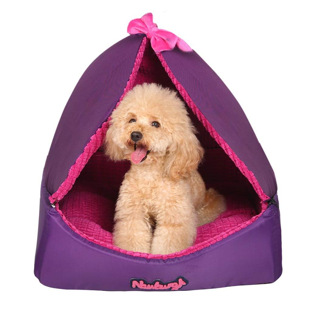 Purple M Purple M PETW Pet Nest, Kennel Deep Sleep Teddy Puppy Bomei Small Dog Pet Bed Dog House Winter Dog House Cat Sleeping Tent (color   Purple, Size   M)