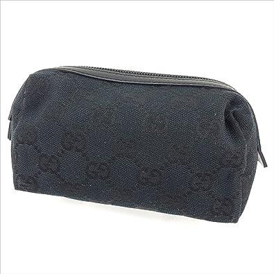 6af163d52c77 (グッチ) Gucci ポーチ 化粧ポーチ ブラック GGキャンバス レディース メンズ 可 中古 H470