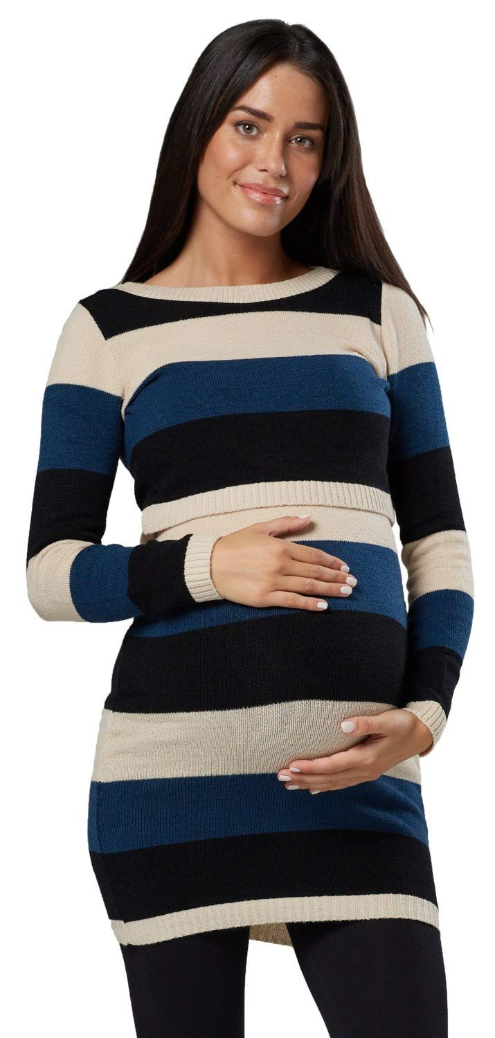 Happy Mama Womens Maternity Nursing Knitted Tunic Crew Neck Cut Out 453p (Beige, US 8/10, L/XL)