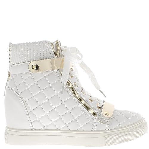 Zapatillas de cuña de levantamiento blancas con tacón de 7cm - 41: Amazon.es: Zapatos y complementos