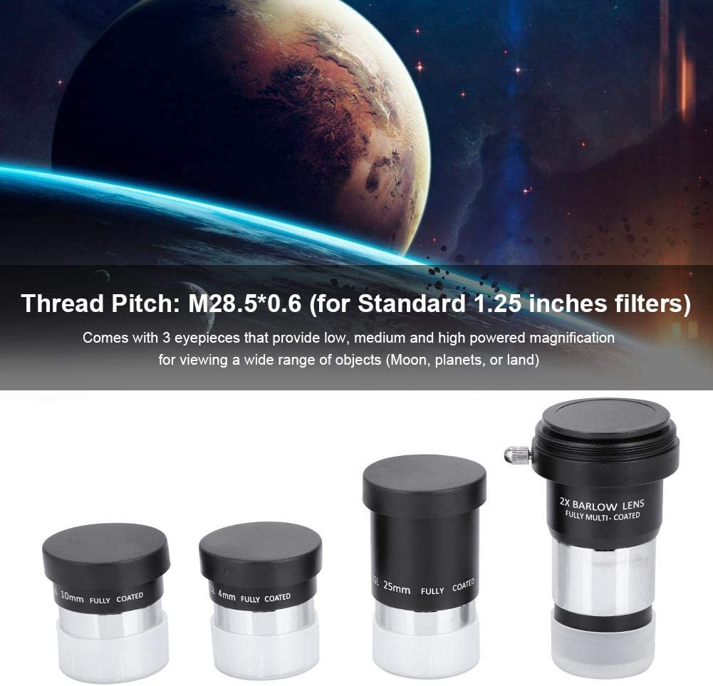 2X Barlow Lens Kit for Astronomy,Fully Multi Coated Yoidesu Telescope Eyepiece Set,1.25 inches Telescope Eyepiece Kit,4mm 10mm 25mm Plossl Eyepiece
