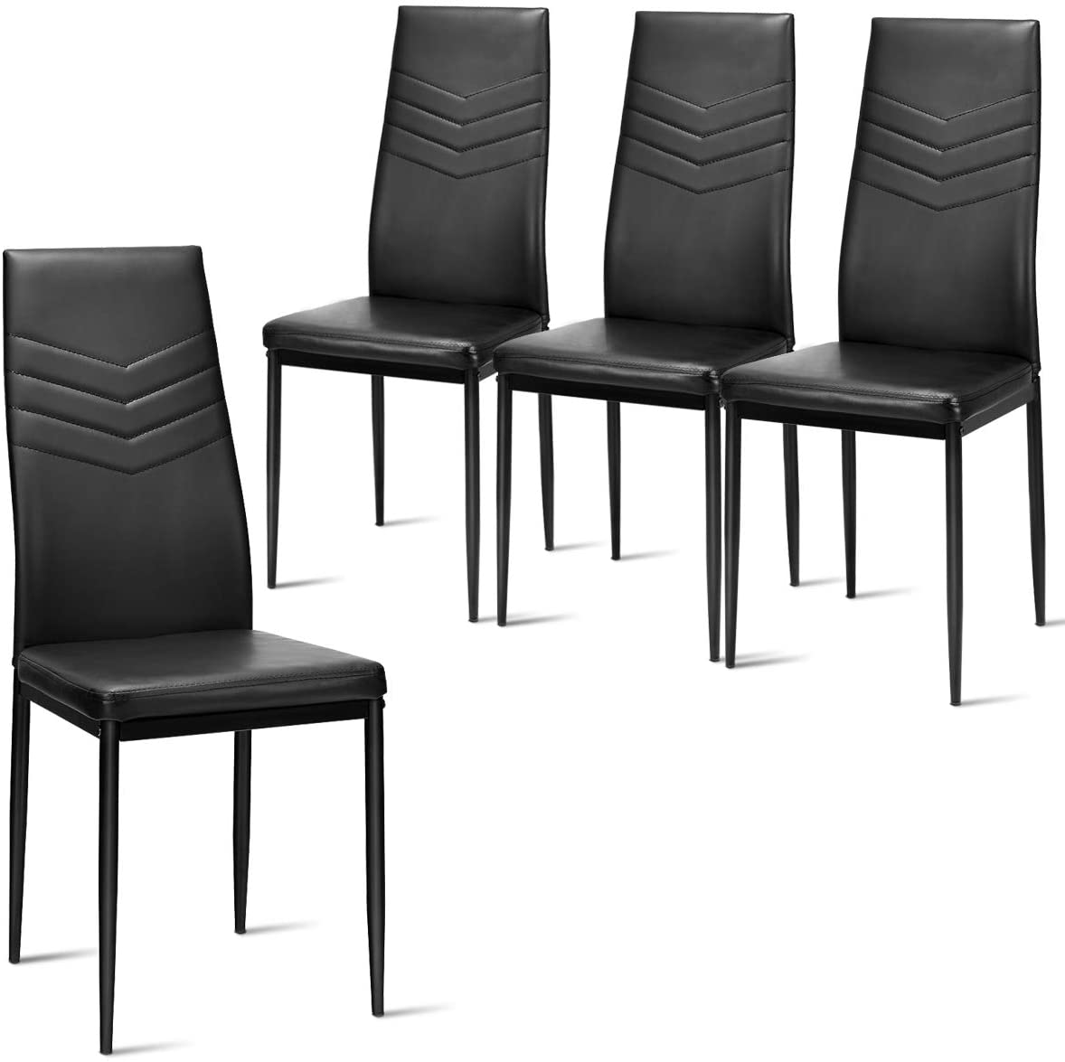 Giantex Set of 4 Dining Chairs Black with High Back, Upholstered Cushion, Sturdy Metal Frame, Powder Coated Tube Legs, PVC Leather, Soft, Light, Modern, Leisure, Home Kitchen Living Room Bed (Black)