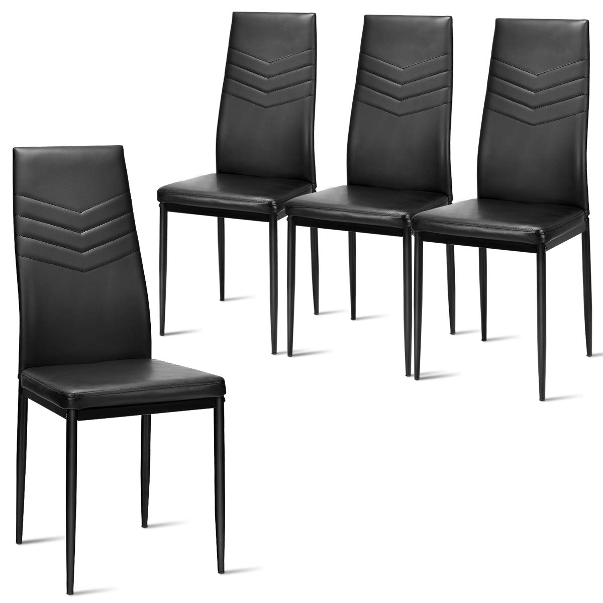 Giantex Set of 4 Dining Chairs Black with High Back, Upholstered Cushion, Sturdy Metal Frame, Powder Coated Tube Legs, PVC Leather, Soft, Light, Modern, Leisure, Home Kitchen Living Room Bed Black
