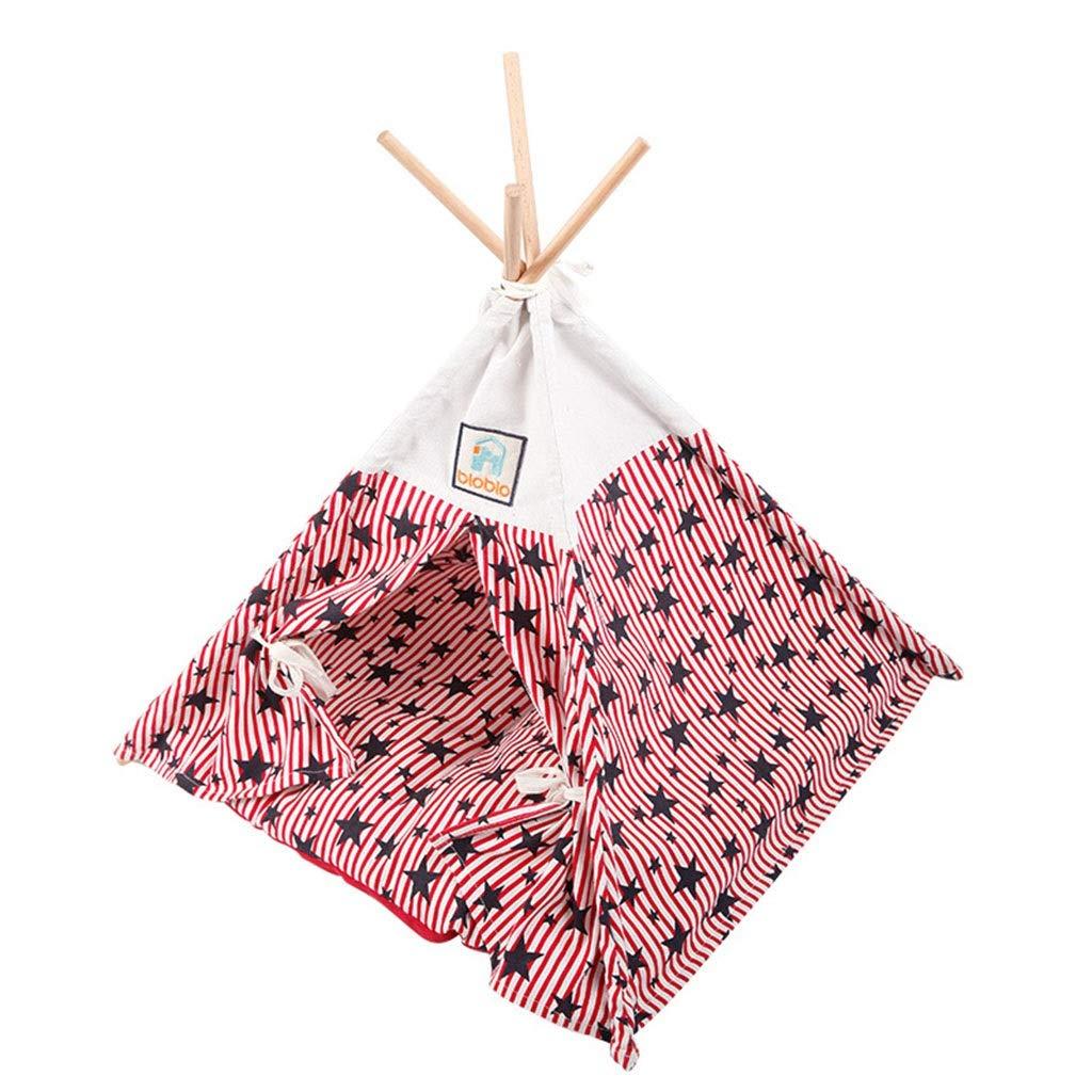 ペットの三角形のテント折りたたみ屋外テント中小犬小屋冬洗えるテントホーム屋内猫分娩室クールで通気性のペットの巣 (Color : ピンク, Size : 55*55CM) ピンク 55*55CM