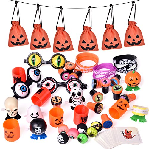 FUN LITTLE TOYS 72PCS Halloween Party Supplies Toy Assortment Goody Bags for Kids' Trick-or-Treat Party Favor,Prefect Halloween Party Ideas