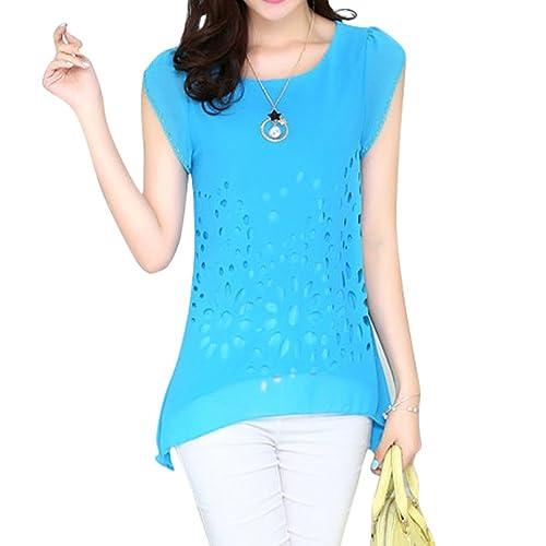 LOBZON - Camisas - Floral - Cuello redondo - para mujer