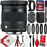 Sigma 17-70mm f/2.8-4 Contemporary DC Macro OS HSM Lens for Canon DSLR Cameras w/32gb Pro Photo and Travel Bundle