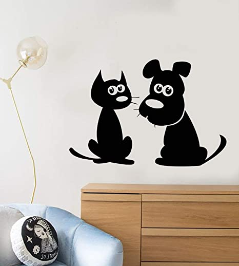 Amazon.com: Vinilo adhesivo de pared dibujos animados gato ...