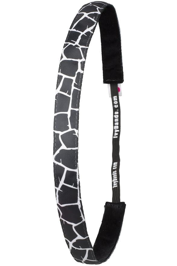 IVY206 One Size Das Anti-Rutsch Haarband Giraffen Haarband Schwarz Beige Braun 1,6cm Breit Ivybands/®
