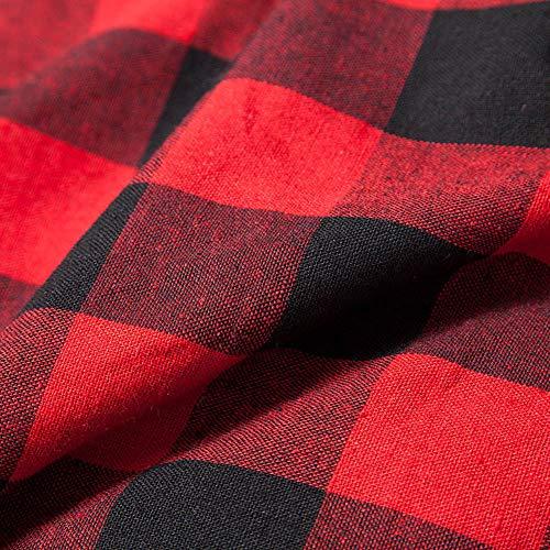 W&TT Camisa A Cuadros De La Mujer Sola Solapa Pecho Manga Larga Irregular Largo Abrigo Informal,Red,L: Amazon.es: Hogar