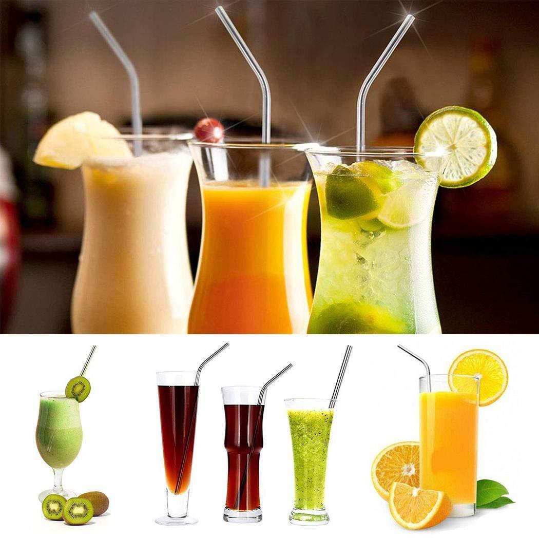 Gfone 8 piezas Pajas de beber reutilizables de acero inoxidable para bebidas de café Conjuntos para el bar