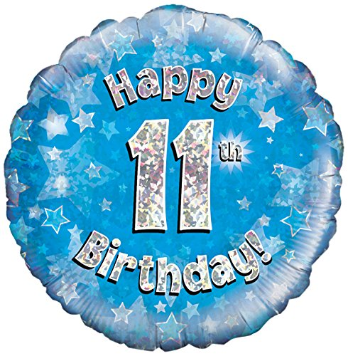 Oaktree UK 18 Inch Happy 11th Birthday Holographic Foil Design Balloons Blue Amazoncouk Kitchen Home