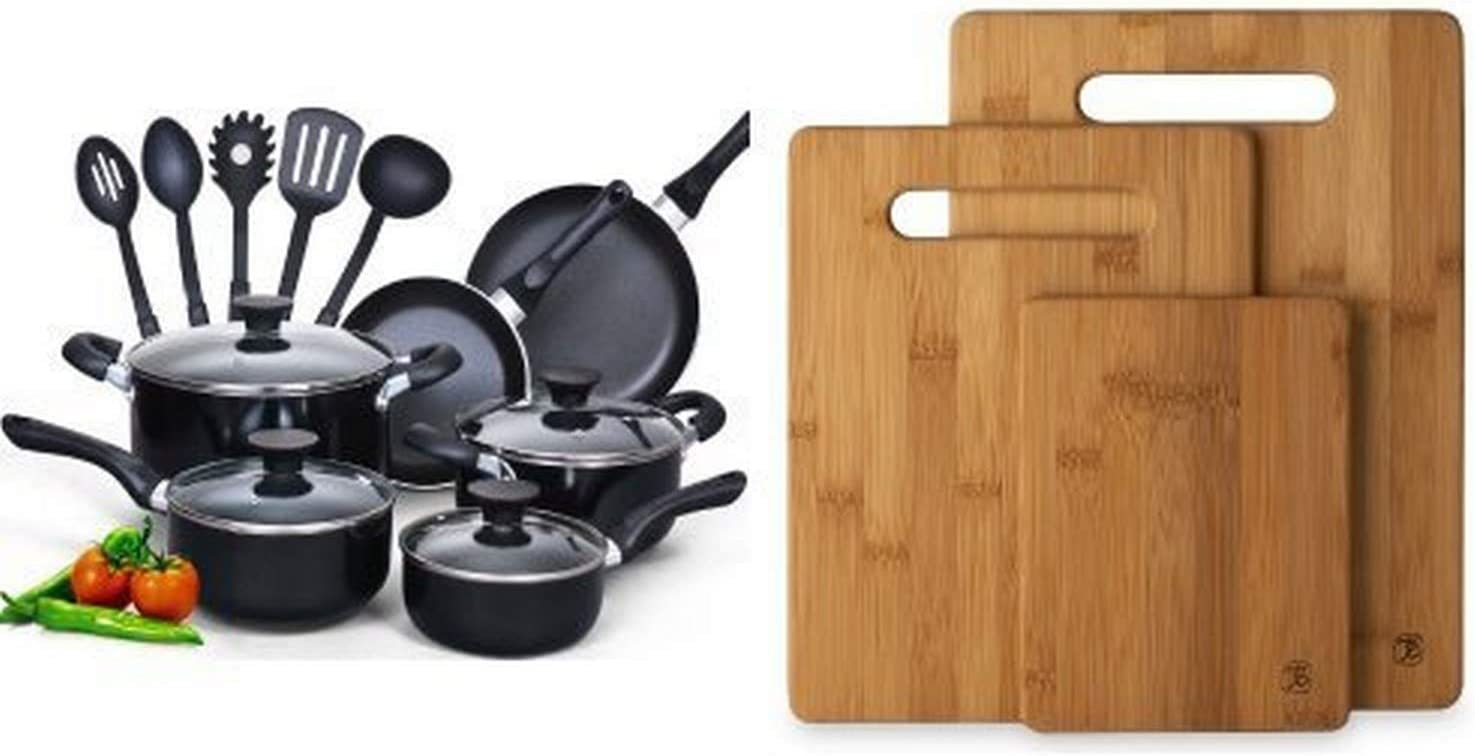 Cook N Home 15 Piece Non stick Black Soft handle Cookware Set and Totally Bamboo 3 Piece Bamboo Cutting Board Set, For Meat & Veggie Prep, Serve Bread, Crackers & Cheese, Cocktail Bar Board Bundle
