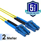 CableRack 2 Meter LC to LC Single Mode Fiber 9/125 Fiber Patch Cable (5-Pack)