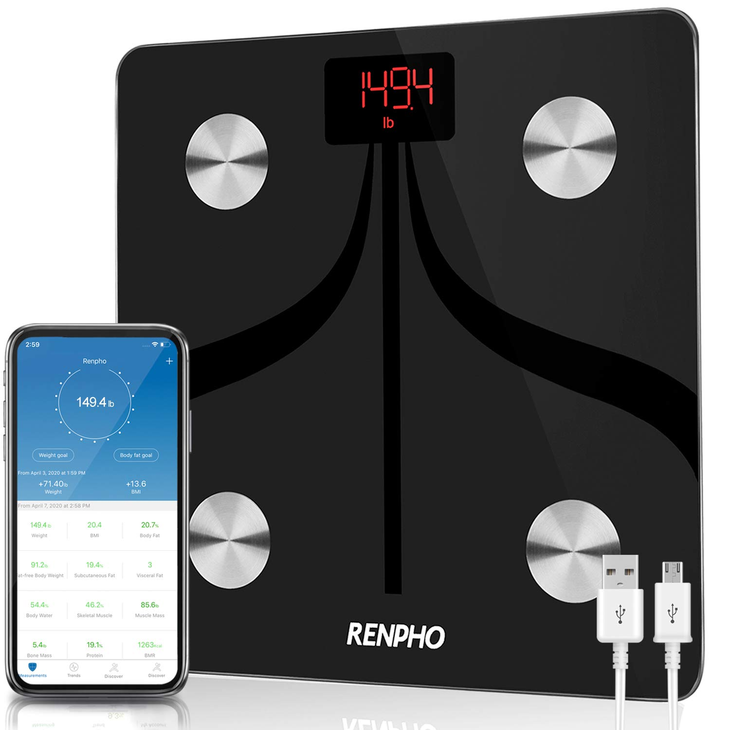 RENPHO Body Fat Scale Weight Bathroom Smart Digital Bluetooth Scale USB Rechargeable with Smartphone App , Body Composition Monitor for Body Fat, BMI, Bone Mass, Weight, 396 lbs Black