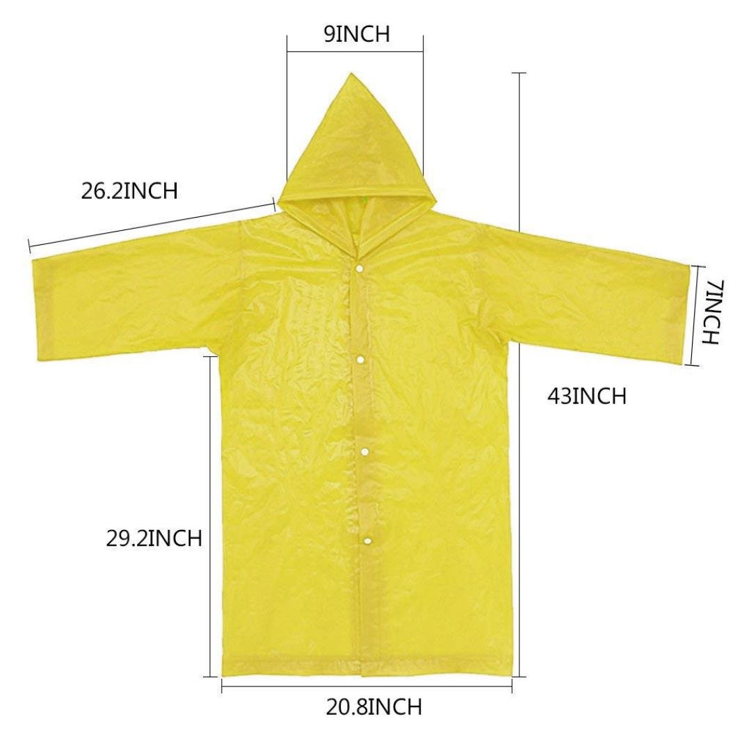 Tpingfe Portable Reusable Raincoats Children Rain Ponchos For 6-12 Years Old, 1PC (Yellow) by Tpingfe (Image #4)