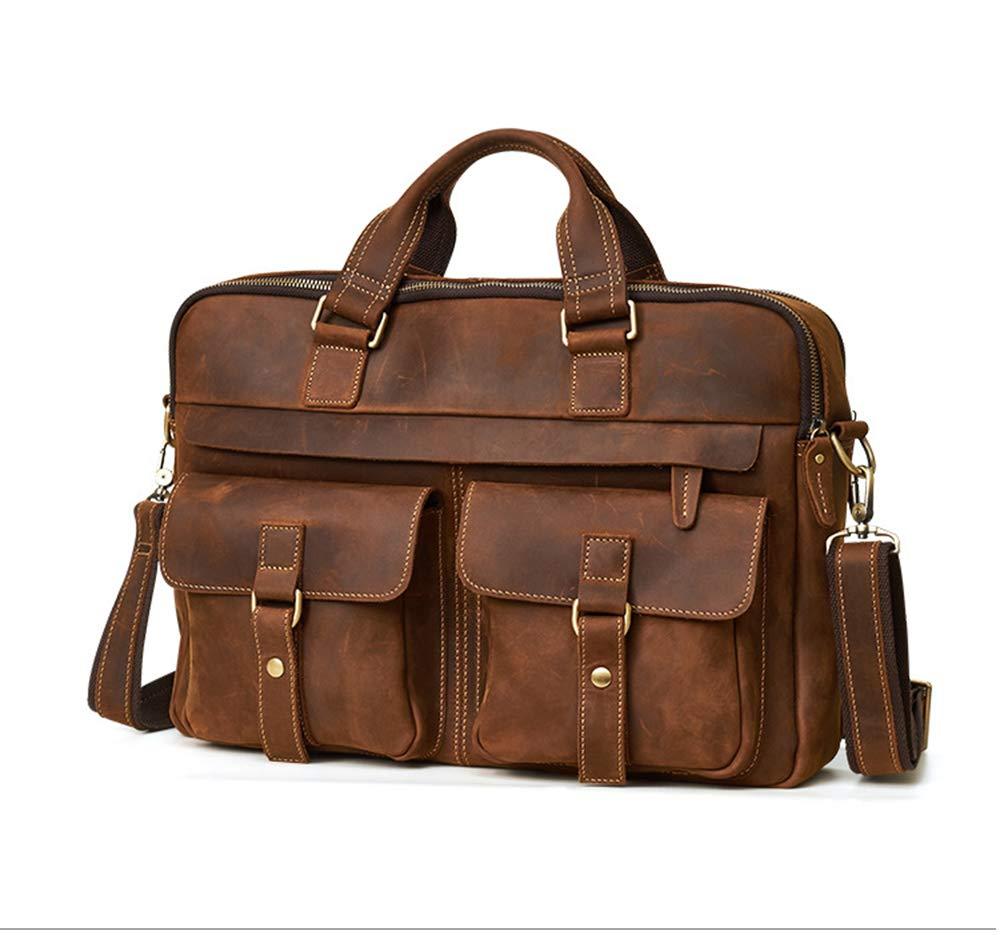 ROOKLY Echtes Leder Messenger Bag Wasserdichte Vintage Large 15,6 Zoll Laptop-Taschen Für Herren Und Damen Handtasche Aktentasche Notebook,Braun