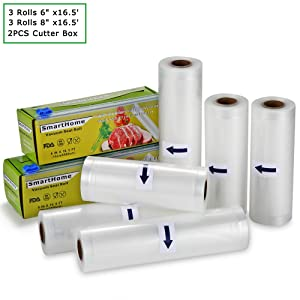 """KitchenBoss Smarthome Vacuum Sealer Rolls with Cutter Box 6 Pack 6"""" x16.5' and 8"""" x16.5' Food Storage Bags Rolls Commercial Grade Bag for Food Saver and Sous Vide"""
