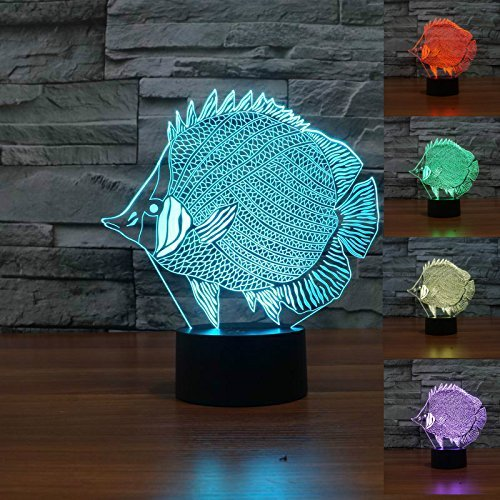 SUPERNIUDB 3D Abstract Fish Night Light Table Light 3D Lamp Table Lamp 3D LED USB 7 Color Change LED Table Lamp Xmas Toy - Lamp Abstract Table
