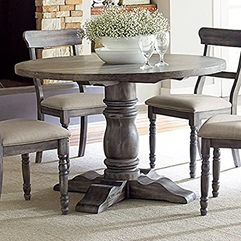 Muses Round Complete Dining Table in Dove Gray - 48 Round Pedestal Dining Table