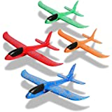 PLUSPOINT Airplane Toys Throwing Foam Plane, with LED Light Up Glider Airplane Model Toy with Dual Flight Mode Outdoor Plane Jet Sports Game Flying Toys Gift for Kids (Without Lights 4pc)