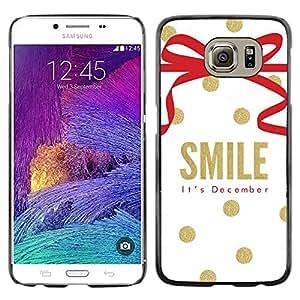 rígido protector delgado Shell Prima Delgada Casa Carcasa Funda Case Bandera Cover Armor para Samsung Galaxy S6 SM-G920 /December Christmas Gold White/ STRONG