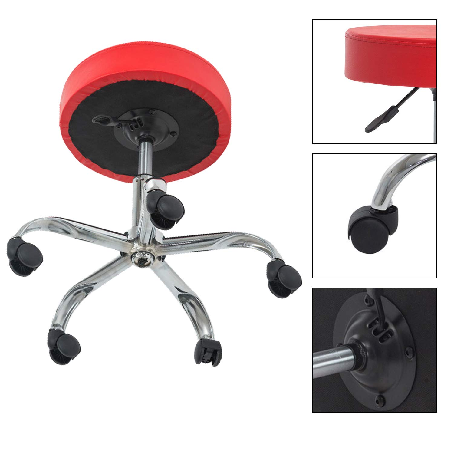 YURUCY Rolling Stool Chair Height Adjustable Salon&Spa Office Home Smooth Chairs (Red) by YURUCY (Image #1)